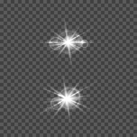 Illustration for Set of vector lens flare effect. Round isolated transparent optical elements with rays. Space star explosion. - Royalty Free Image
