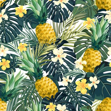 Illustration for Seamless hand drawn tropical vector pattern with exotic palm leaves, hibiscus flowers, pineapples and various plants on white background. - Royalty Free Image