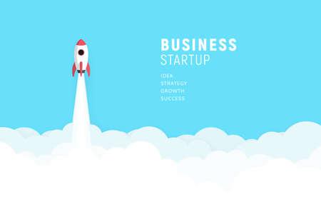 Illustration pour Business startup launch concept, flat design, rocket icon. Vector illustration. - image libre de droit
