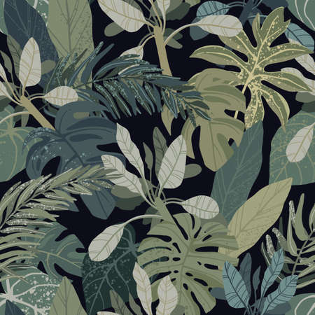Illustration pour Seamless hand drawn tropical vector pattern with monstera and exotic palm leaves on dark background. - image libre de droit