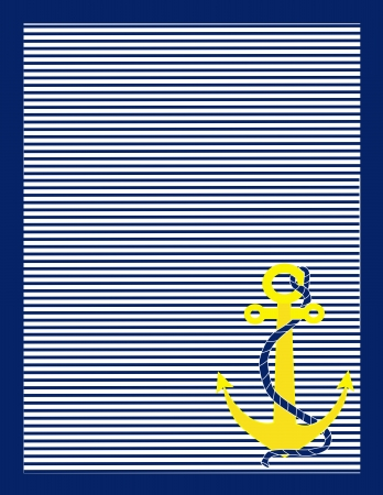 A background of blue and white stripes with a gold anchor in the lower right corner