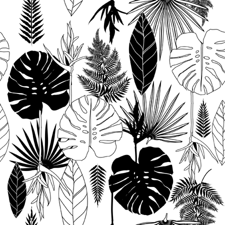 Illustration for Summer black and white tropical palm tree leaves seamless pattern. Vector design for cards, web, backgrounds and natural product. - Royalty Free Image