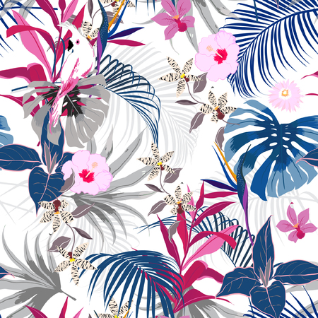Ilustración de Trendy vector seamless beautiful artistic summer tropical pattern with exotic forest. Bright and Colorful original stylish floral background print, bright forest flower on white - Imagen libre de derechos