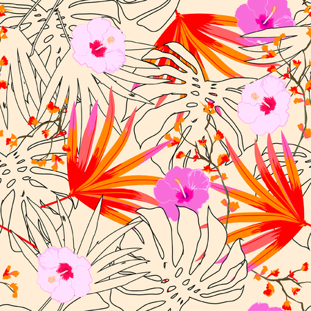 Illustration for A Vector seamless beautiful artistic bright tropical pattern with exotic forest. Colorful original stylish floral background print, bright colors on beige. - Royalty Free Image