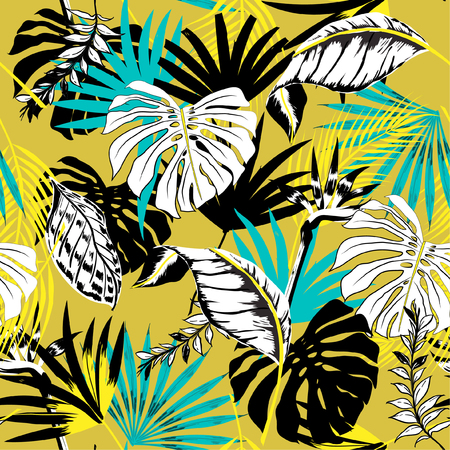 Illustration for Trendy beautiful seamless vector tropical summer pattern background with palm leaves. Perfect for wallpapers, web page backgrounds, surface textures, textile on yellow - Royalty Free Image