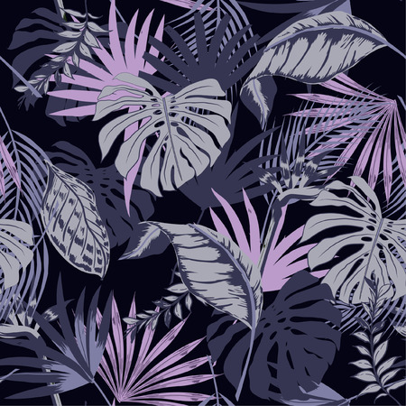 Illustration pour Beautiful seamless vector tropical summer pattern background with palm leaves. Perfect for wallpapers, web page backgrounds, surface textures, textile on purple - image libre de droit