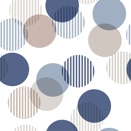 Illustration pour Vector seamless pattern. Monotone blue and beige Abstract background with roundpolka dots mix in stripe. Freshing color texture. Stylish polka dot on white. - image libre de droit