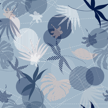 Illustration pour Seamless Hand Drawn tropical pastel silhouette exotic leaves  Pattern on bright blue mixed with stripes Print vector - image libre de droit