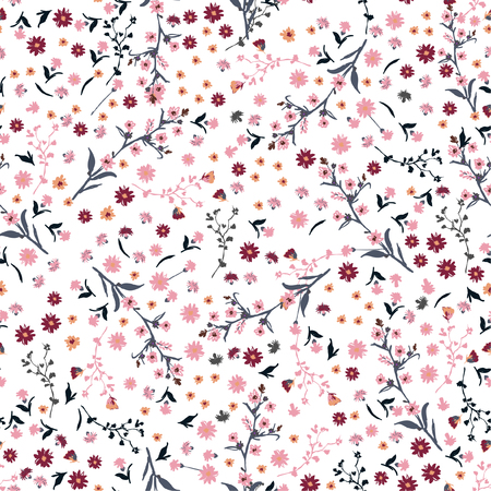 Ilustración de Beautiful wild flowers bright pattern in small-scale pink and red flowers. Liberty style meadow. Floral seamless background for textile, book covers, manufacturing, wallpapers, print, gift wrap and scrapbook on white - Imagen libre de derechos