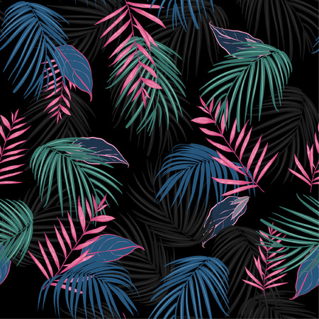 Illustration for vector seamless beautiful artistic dark tropical pattern with exotic forest. Colorful original stylish floral background print, bright rainbow colors on Black - Royalty Free Image