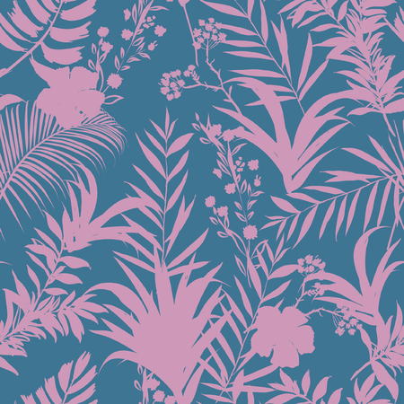 Illustration for Beatiful  palm trees and tropical forest on the sweet pastel blue and pink  background. Vector seamless pattern. Tropical illustration. Jungle foliage. - Royalty Free Image