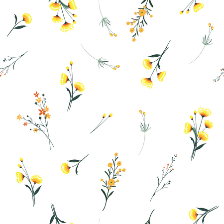 Ilustración de Trendy yellow wind blowing, floral pattern in the many kind of flowers. Wild botanical Motifs scattered Seamless vector texture. For fashion prints. Printing with in hand drawn style on white background. - Imagen libre de derechos