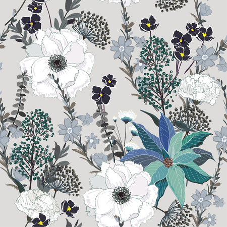 Illustration pour Beautiful hand drawing seamless pattern Blooming garden floral background for textile decor and design. botanical wallpaper on grey - image libre de droit