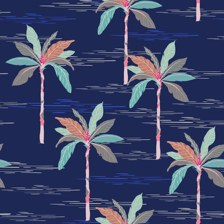 Illustration for Summer Beautiful seamless island pattern on dark blue background. Landscape with palm trees,beach and ocean vector hand drawn style. - Royalty Free Image