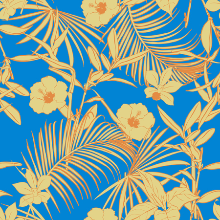 Illustration for Beautiful vintage  Outline bright summer forest   palm trees and tropical  on fresh sky blue background. Vector seamless pattern. Exotic illustration. Jungle foliage. - Royalty Free Image