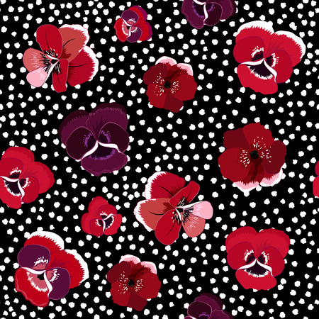 Trendy stylish seamless pattern with blooming flowers on white polka dot background.
