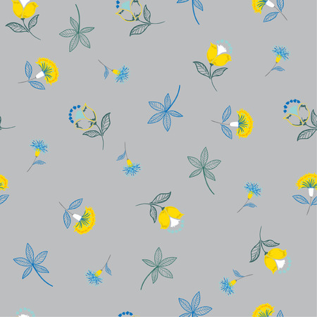Ilustración de Folk Flower pattern in the many kind of flowers.Botanical . Seamless vector texture. Elegant template for fashion prints. Printing with in hand drawn style on grey background. - Imagen libre de derechos