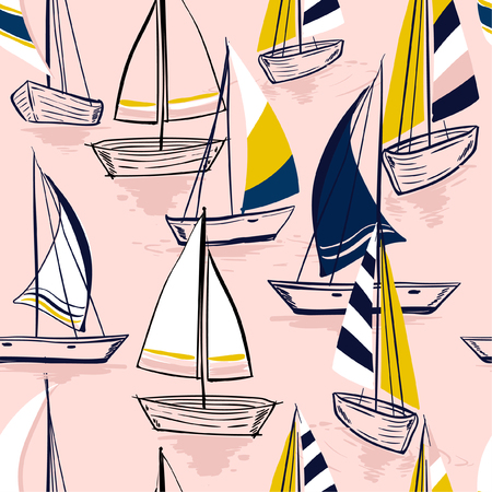 Ilustración de Beautiful Hand drawing  sketch Seamless summer sea pattern with sailing ships on sweet pink  background. Nautical pattern vector - Imagen libre de derechos