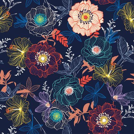 Foto de Line Hand sketch blooming garden flower contrast colorful seamless pattern vector for fashion fabric and all prints on navy blue background - Imagen libre de derechos