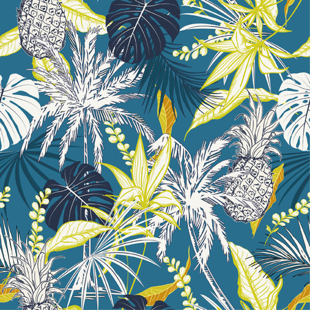 Ilustración de Summer colorful  tropical forest  leaves and tress  hand drawn style seamless pattern vector for fashion fabric , wallpaper, and all prints on ocean blue background color - Imagen libre de derechos