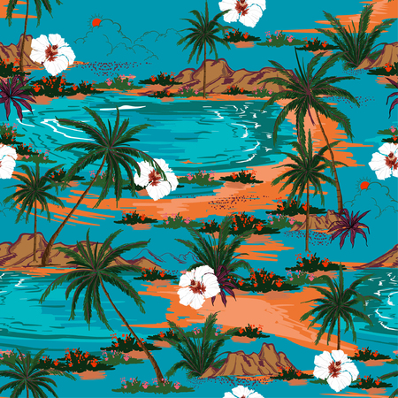 Illustration for Retro summer hawaii  seamless island pattern vector. Landscape with palm trees,beach and ocean vector hand drawn style on blue ocean color background. - Royalty Free Image
