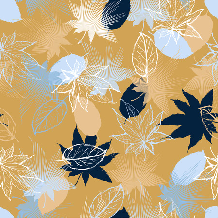 Illustration pour Beautiful retro Hand drawn Maple leaves mix with modern line in maple shape and autumn leaves element  seamless pattern vector layer for fashion,fabric,and all prints on light beige background. - image libre de droit