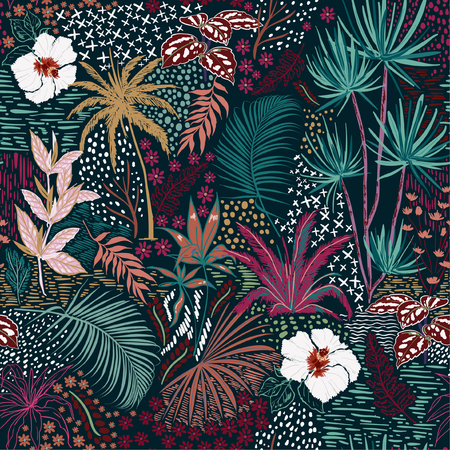 Illustration pour Beautiful Retro hand sketch seamless tropical dark summer forest pattern with colorful palm trees,leaves,exotic wild and plants vector in hand drawn style,for fashion ,fabric and all print - image libre de droit