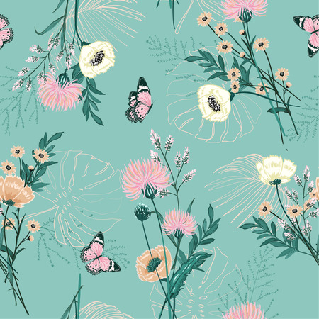 Vektor für Trendy Pastel of  many kind of garden flower, plants ,botanical ,butterfly,seamless pattern vector design for fashion,fabric,wallpaper and all prints on green mint background color - Lizenzfreies Bild