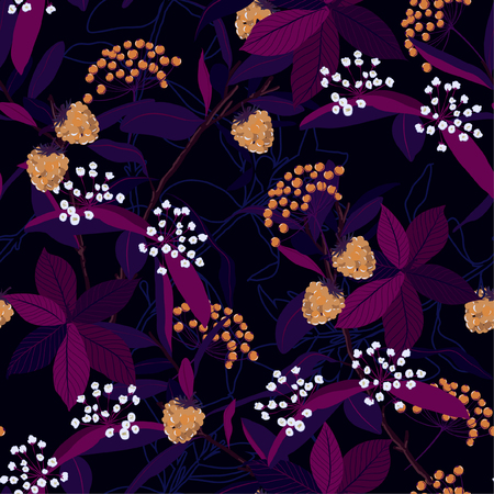 Beautiful seamless patterrn of autumn leaves ,berries,wild flowers,on botanical line background vector design for fashion,fabric,wallpaper and all prints on dark background color