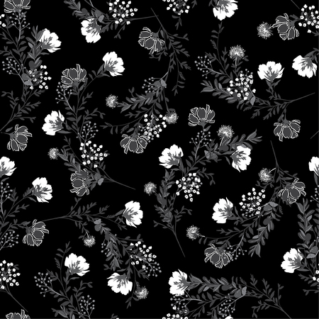 Illustration pour Black and white Seamless pattern ,blooming garden flowers in delicate botanical  design for fashion,fabric,wallpaper and all prints - image libre de droit