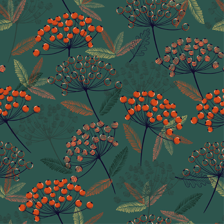Illustration for Beautiful Hand drawn seamless vector pattern. Fall/winter line flowers and orange berries design for fashion,fabric.wallpaper and all prints on dark green  background. - Royalty Free Image