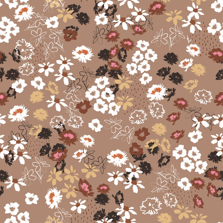 Illustration for Vintage Seamless pattern in colorful small pretty flowers. Liberty style blooming meadow florals design for fashion , fabric , wallpaper , web and all prints on stylish brown background color - Royalty Free Image
