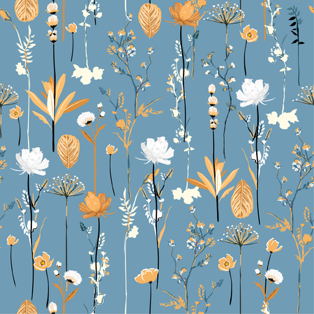 Illustration for Soft and gentle botanical blooming garden flowers seamless pattern vertical repeat in vector design for fabric,fashion,textile,web,wallpaper,all prints on light blue - Royalty Free Image
