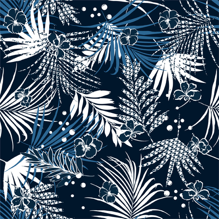 Ilustración de Summer night tropical seamless pattern with flowers and houndstooth fill-in leaves Houndstooth background. Vector illustration on navy blue design for all prints - Imagen libre de derechos