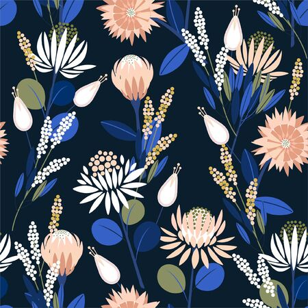 Ilustración de Beautiful Blooming protea flowers in the garden full of botanical plants seamless pattern in vector design for fashion,web,wallpaper,wrapping and all prints on navy blue background color - Imagen libre de derechos