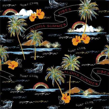 Illustration for Trendy Summer Beautiful seamless island pattern on black background. Landscape with palm trees, beach , hibiscus flower,flag,mountain and ocean vector hand drawn style. - Royalty Free Image