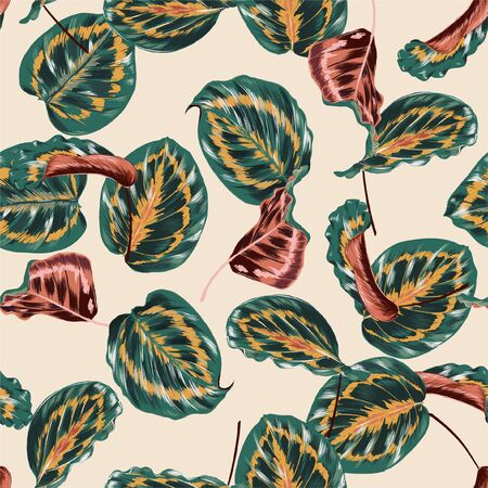 Illustration for Beautiful retro botanical leaves seamless pattern with colorful tropical leaves and plants on light beige background. - Royalty Free Image