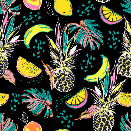 Illustration for Colourful hand drawn sketch summer fruits ,pineapple, orange, lemon and leaves seamless pattern in vector Disign for all fashion, fabric and all print on black - Royalty Free Image