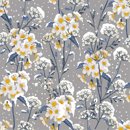 Illustration pour Beautiful winter flower blooming in the snow delicate floral seamless pattern vector EPS10 ,Design for fashion, fabric, textile,web,wallpaper, wrapping and all prints on winter grey background color - image libre de droit