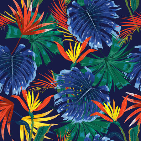 Illustration pour Trendy Dark jungle tropical forest ,contrasts with colorful Exotic flower and foliage leaves ,Design for fashion , fabric, textile, wallpaper, cover, web , wrapping and all prints on navy blue background color - image libre de droit