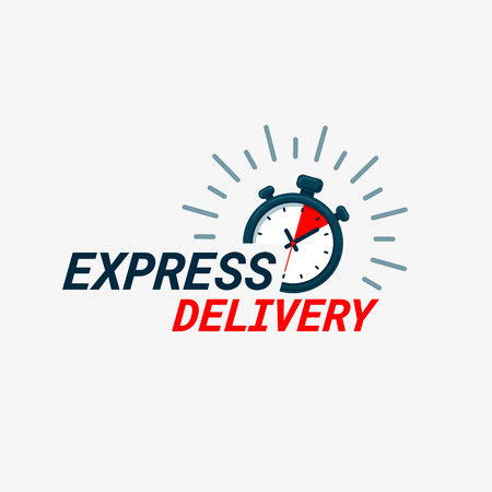 Illustration pour Express delivery icon. Timer and express delivery inscription on light background. Fast delivery, express and urgent shipping, services, chronometer sign. vector illustration - image libre de droit