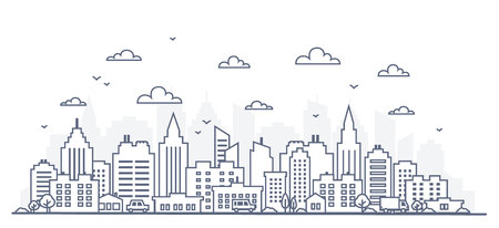 Ilustración de Thin line style city panorama. Illustration of urban landscape street with cars, skyline city office buildings, on light background. Outline cityscape. Wide horizontal panorama. Vector illustration - Imagen libre de derechos