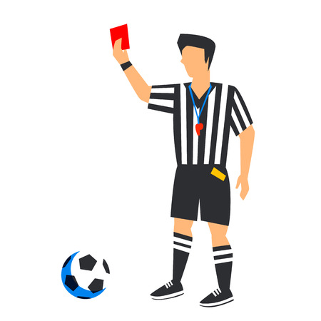 Abstract in blue football referee with red card and ball. Soccer referee Isolated on a white background.    Football player in Russia 2018. Fool color illustration in flat style vector illustration