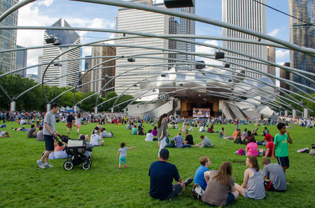 People enjoying live concert at Millennium park, Chicago