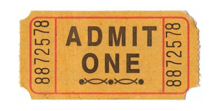 Generic vintage admit one ticket close up