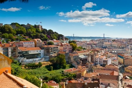 View over Baixa and Castelo de Sao Jorge from Alfama, Lisbon, Portugal