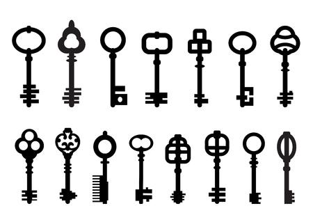 Ilustración de Set of isolated graphical retro keys. - Imagen libre de derechos