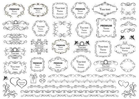 Ilustración de Calligraphic design elements . Decorative swirls or scrolls, vintage frames , flourishes, labels and dividers. Retro vector illustration. - Imagen libre de derechos