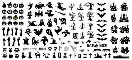 Illustration for Set of silhouettes of Halloween on a white background. Vector illustration - Royalty Free Image