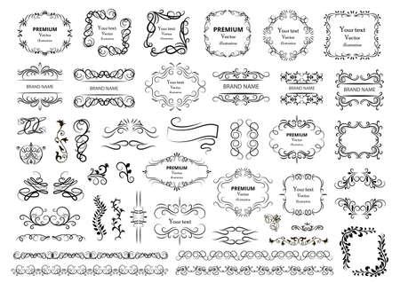 Illustration pour Calligraphic design elements. Decorative swirls or scrolls, vintage frames, flourishes, labels and dividers. Retro vector illustration. - image libre de droit